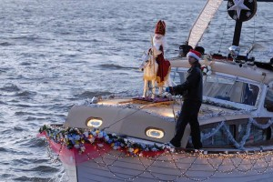 Sinterklaas arrives in Rhinecliff, New York in 2008 after crossing the Hudson RIver in his winged boat! photo: © Douglas Baz